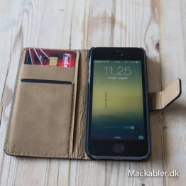 Image of   iPhone læder cover kortholder med klap Farve Sort, iPhone iPhone 5/5s/SE