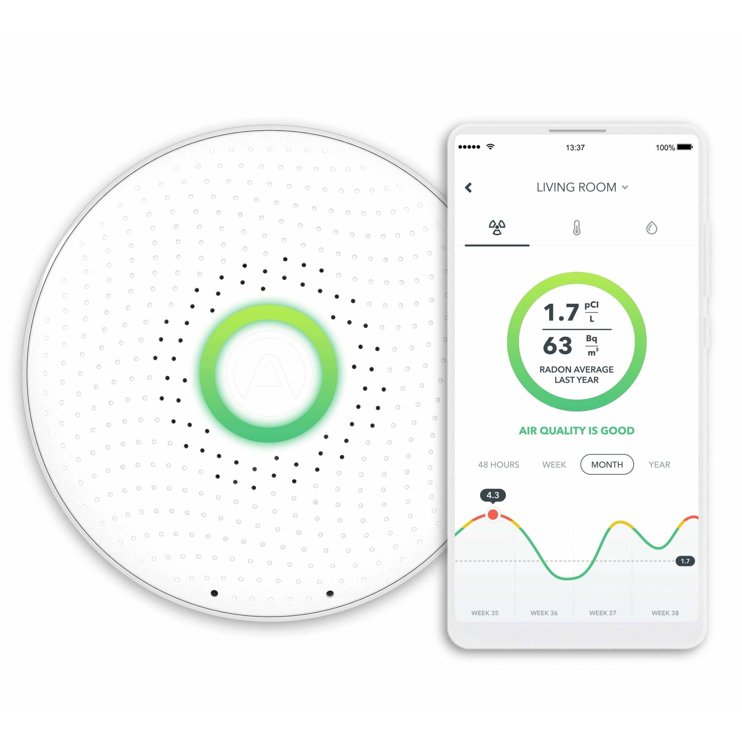 Airthings wave smart radon detektorer fra airthings fra mackabler.dk
