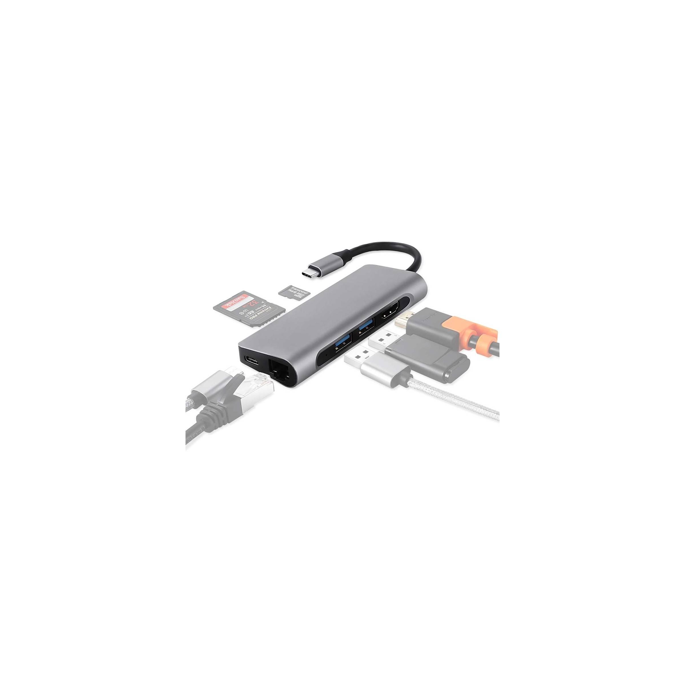 Usb-c dock med hdmi, rj-45, 2x usb 3.0, micro sd og sd kort fra kina oem på mackabler.dk