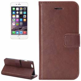 Image of   iPhone læder cover kortholder med klap til iPhone 6/6s plus Farve Brun, iPhone iPhone 6 plus/ 6s plus