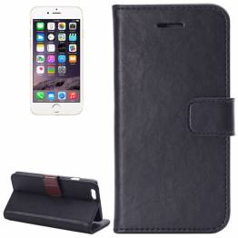 Image of   iPhone læder cover kortholder med klap til iPhone 6/6s plus Farve Sort, iPhone iPhone 6 plus/ 6s plus