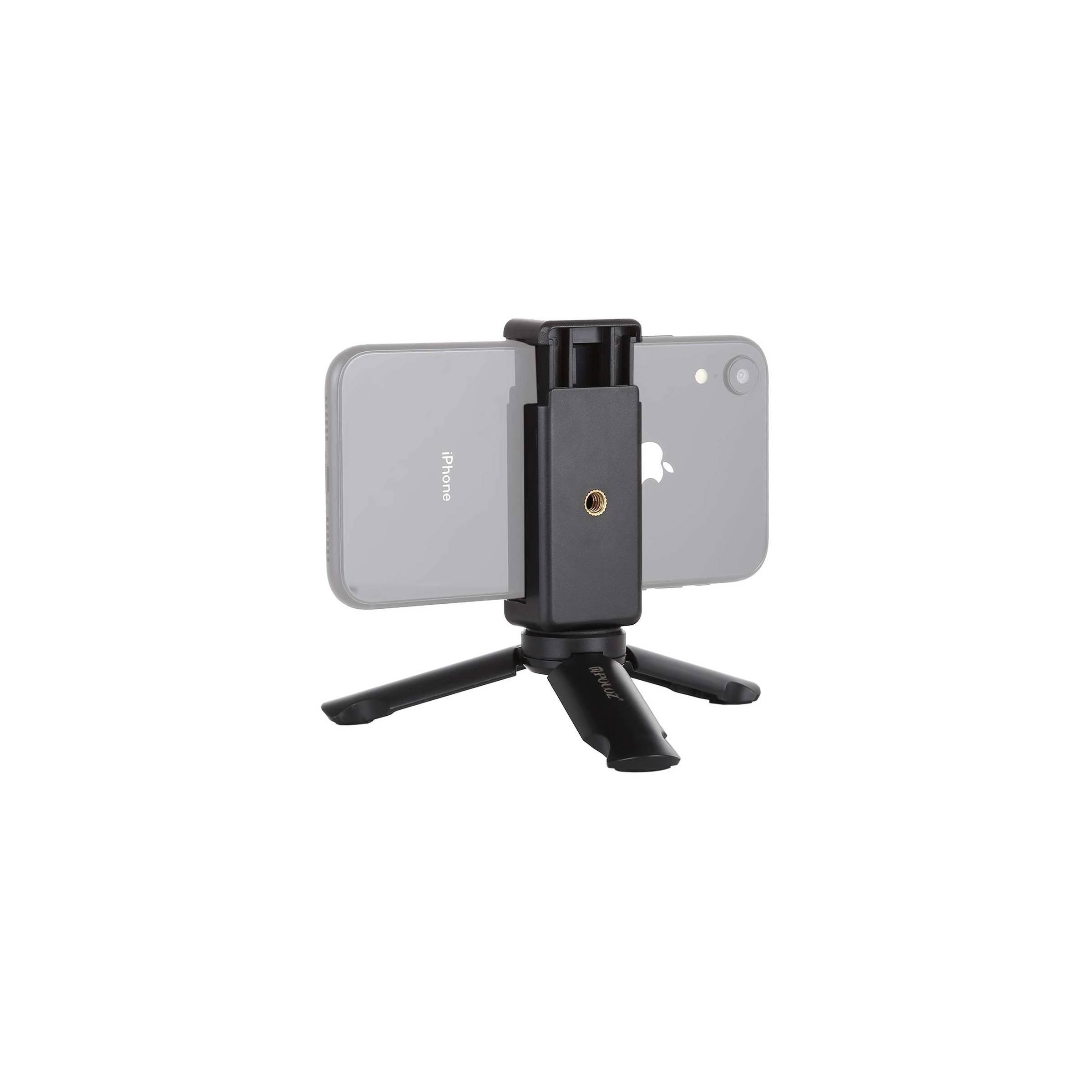 Stabil tripod med iphone holder fra puluz på mackabler.dk