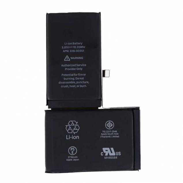 iPhone X batteri 2716 mAh 10,35 Wh Originalt - iPhone Xbatteri på 2716mAh eller 10,35 Wh, som du kan bruge hvis dit iPhone Xbatteri er gået i stykker eller er blevet dårligt. Batteriet eroriginalt fra Apple og virker som et normalt nyt iPhone Xbatteri.