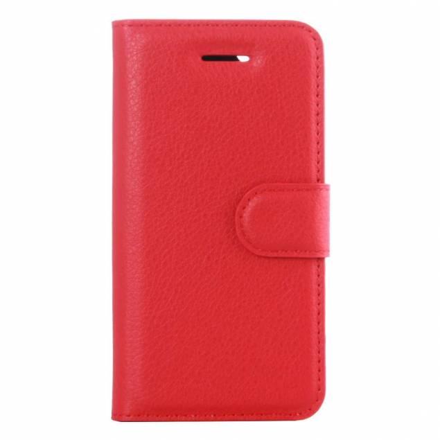 iPhone 5/5s/se cover I kunstlæder med klap rød - Klassisk iPhone 5, iPhone 5S eller iPhone SElæder cover med beskyttelse og kreditkort plads.