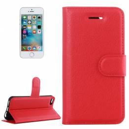 iPhone 5/5s/se cover I kunstlæder med klap rød