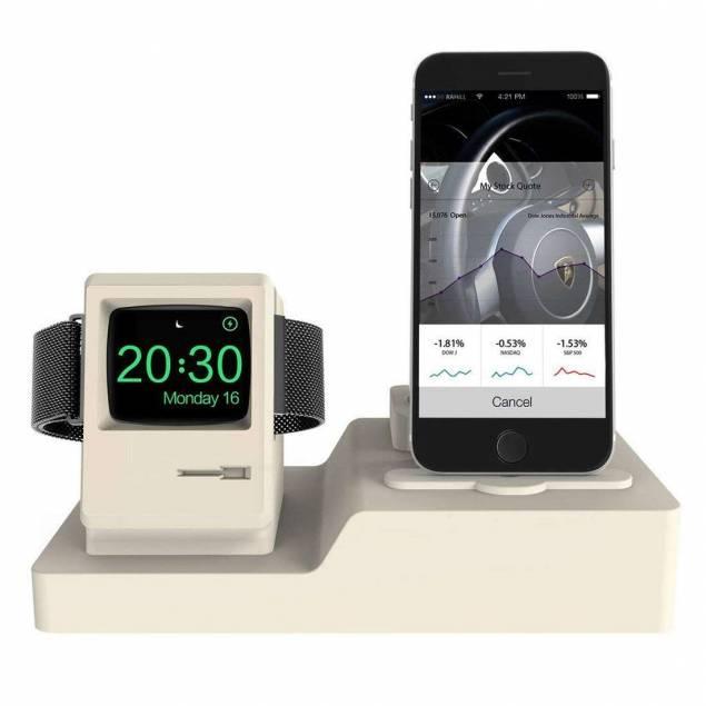 3 i 1 Retro Apple watch stander med Macintosh look i grå