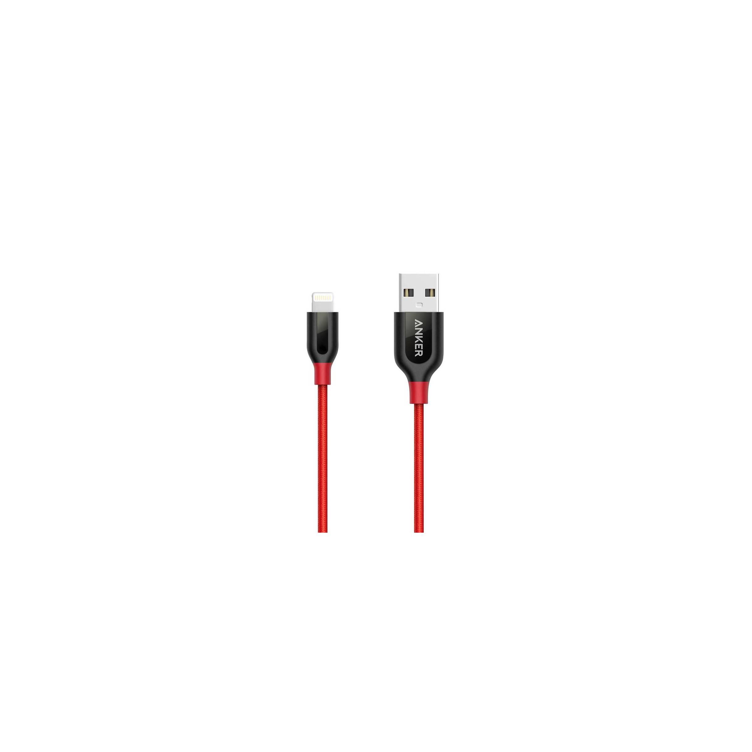 Anker powerline+ mfi lightning kabel med lomme 0,9m/1,8m farve rød, længde 1,8m / 180cm / 6ft fra anker på mackabler.dk