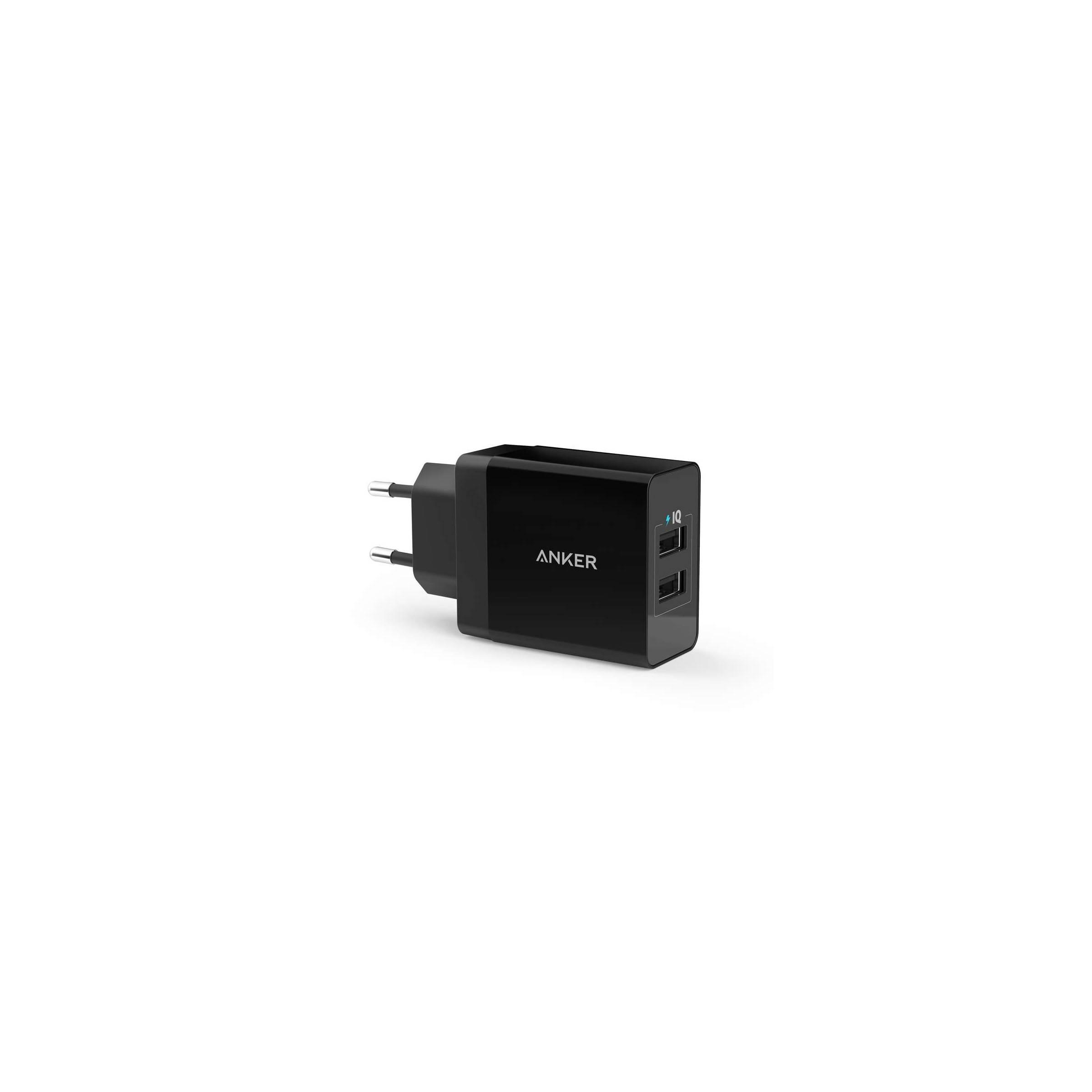 Anker 2x usb vægoplader 24w sort til ipad og iphone fra anker på mackabler.dk