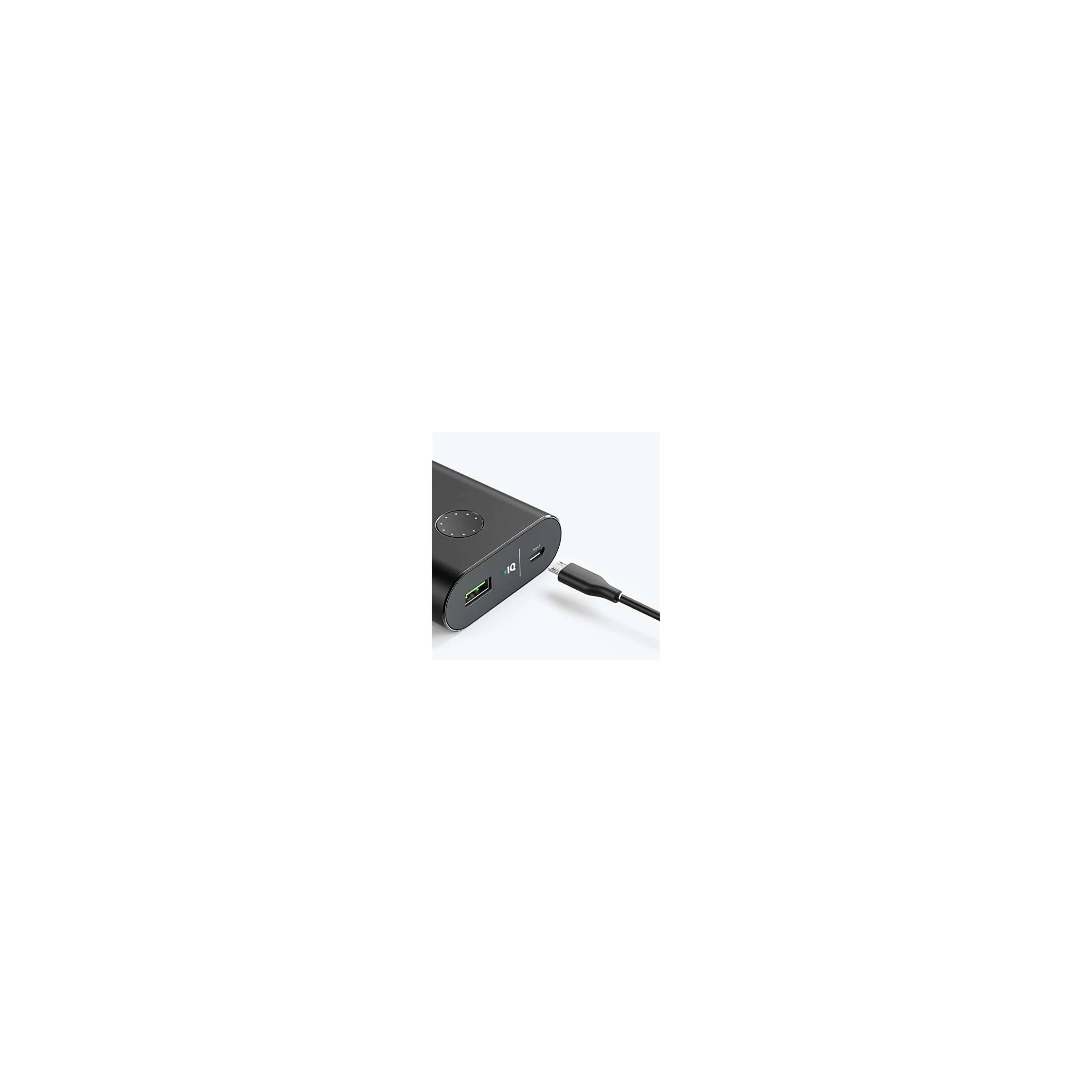 anker – Anker powercore+ 10 050mah powerbank quick charge 3.0 sort/sølv farve sort på mackabler.dk