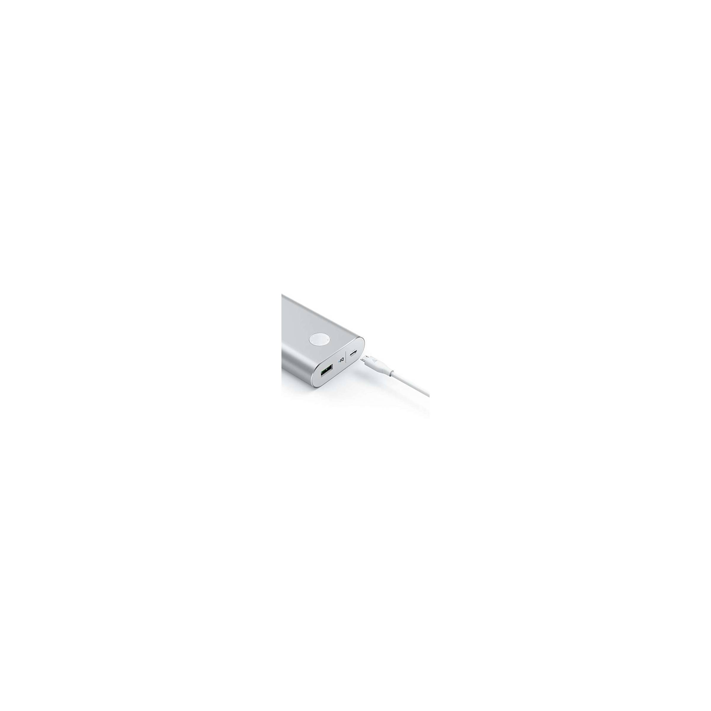 anker Anker powercore+ 10 050mah powerbank quick charge 3.0 sort/sølv farve sølv farve på mackabler.dk