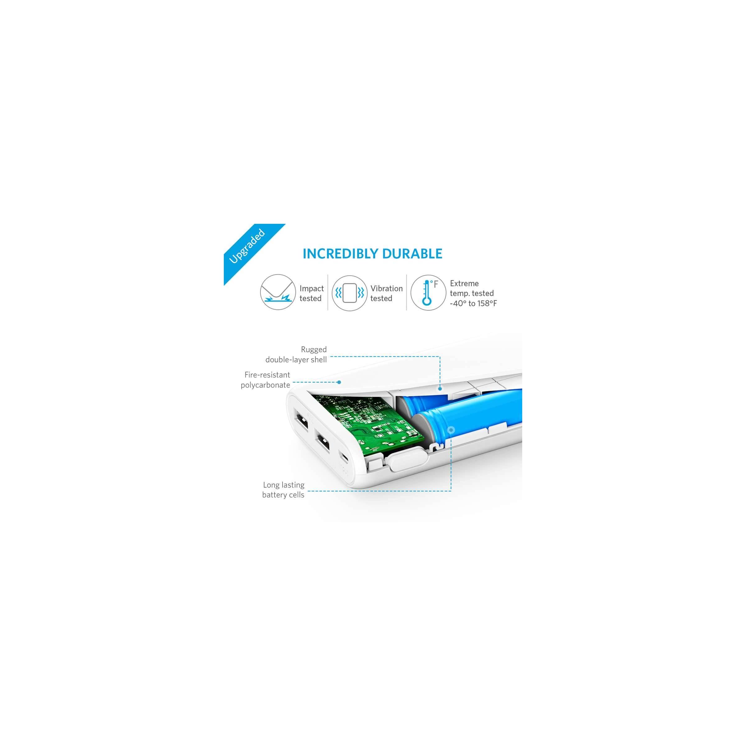 anker Anker powercore 20.100 mah powerbank hvid/sort farve hvid på mackabler.dk