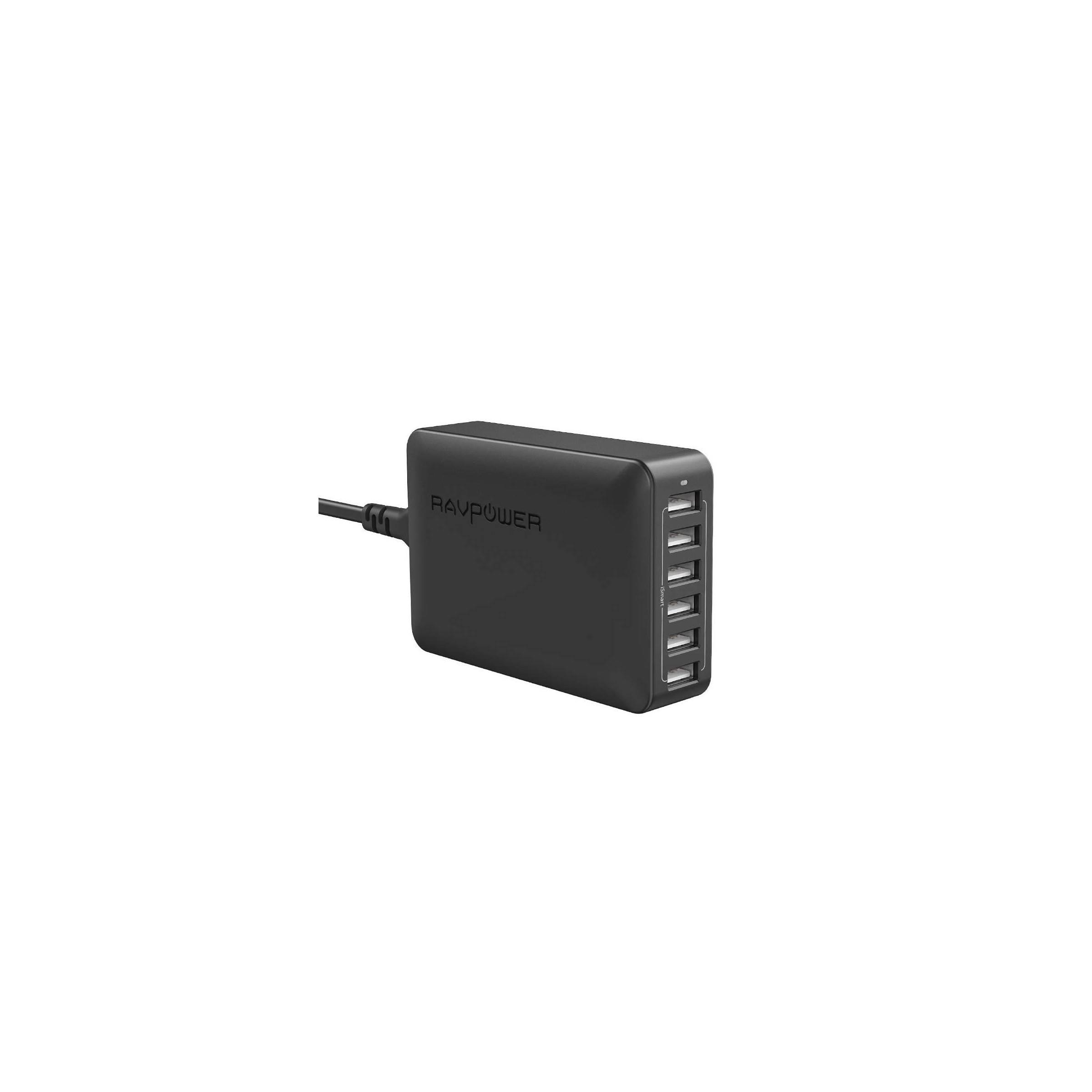ravpower – Ravpower 6-ports usb hub oplader m. 60w i sort på mackabler.dk