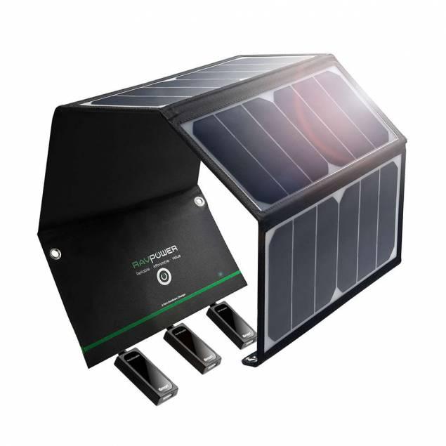 RAVPower Sol oplader 24W Solpanel til iPhones/iPads i Sort