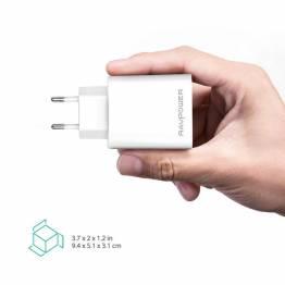 RAVPower 3-port USB Oplader m. 30W opladning i hvid