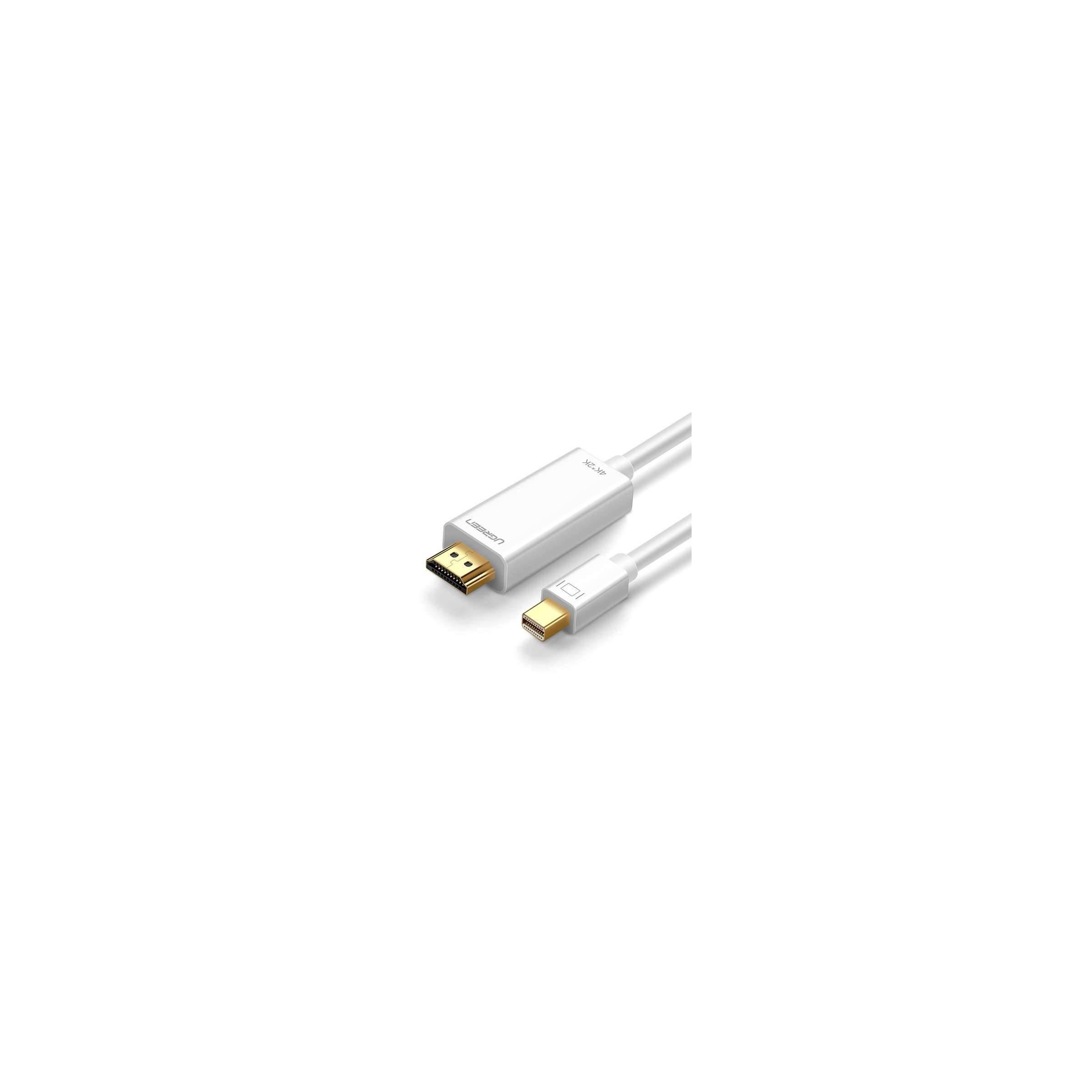 ugreen – Mini displayport til hdmi (4k) ugreen farve hvid, længde 1,5 meter fra mackabler.dk