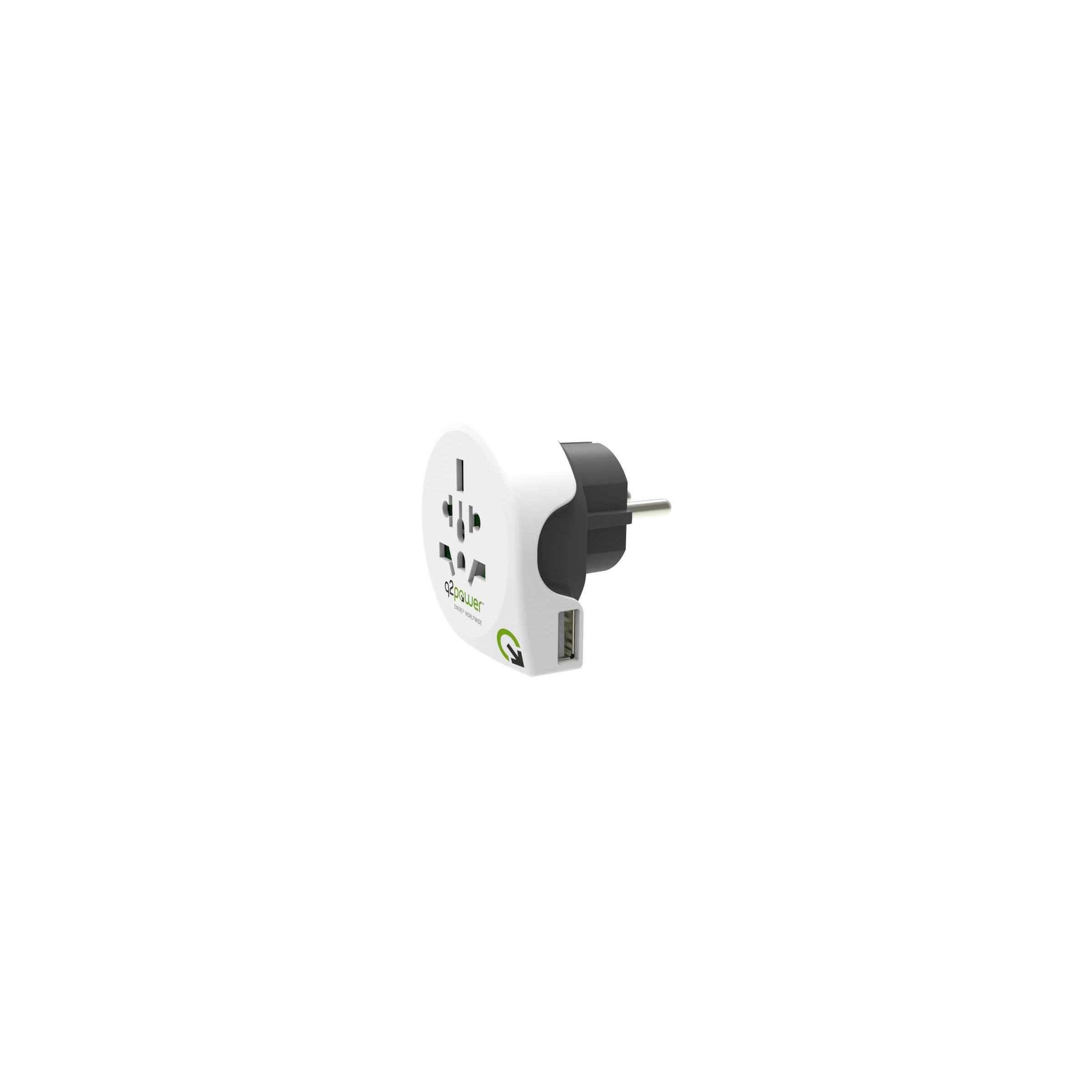 q2power – Q2power ultimative rejseadapter verden til usa/uk/eu/aus m. usb stik version europæisk stik fra mackabler.dk