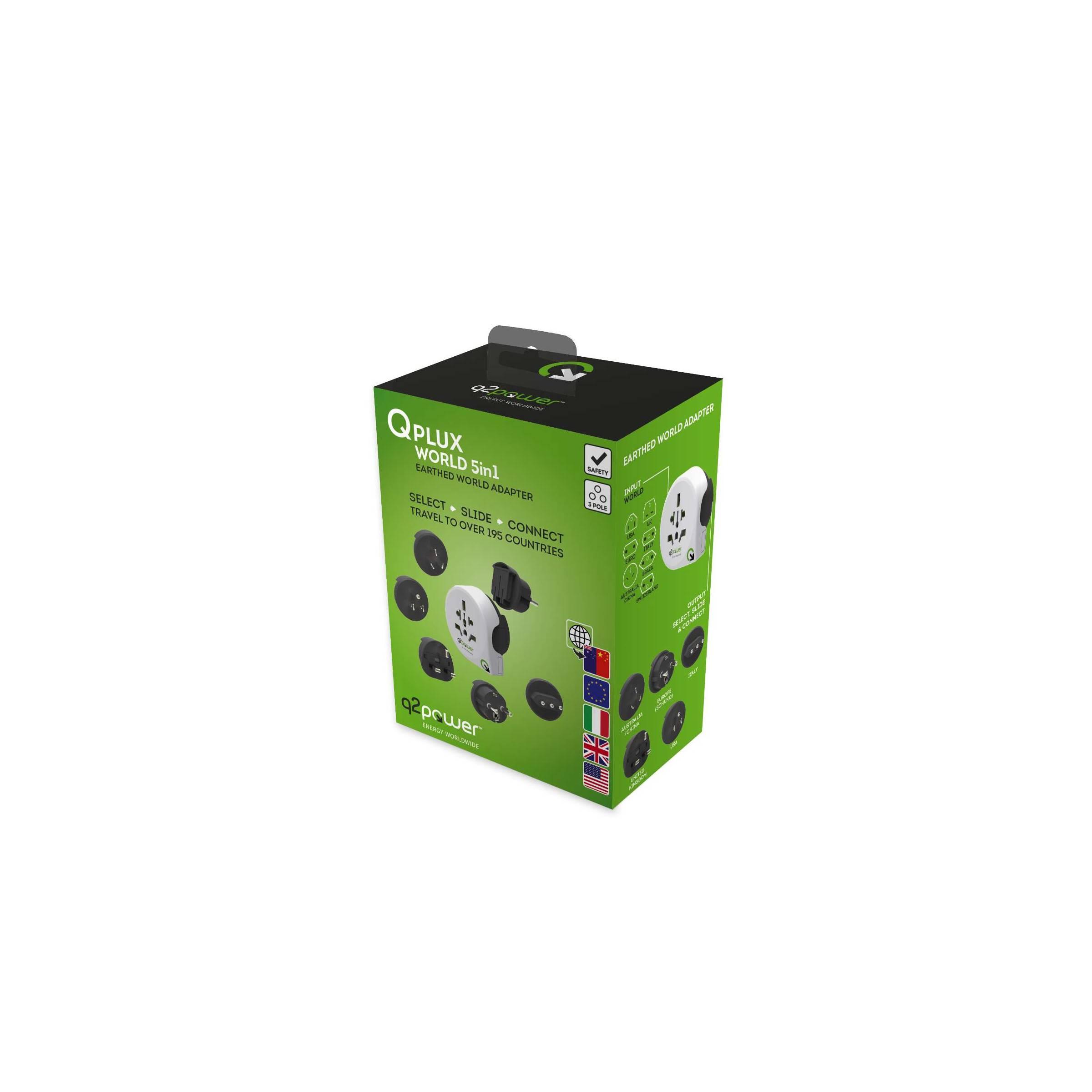 q2power – Q2power qplux 5 i 1 verden/eu til verden rejse adapter version hele verden stik på mackabler.dk