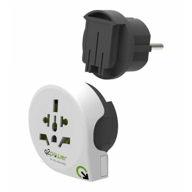 Q2Power QPLUX 5 i 1 Verden/EU til Verden rejse adapter - Version - Hele verden stik