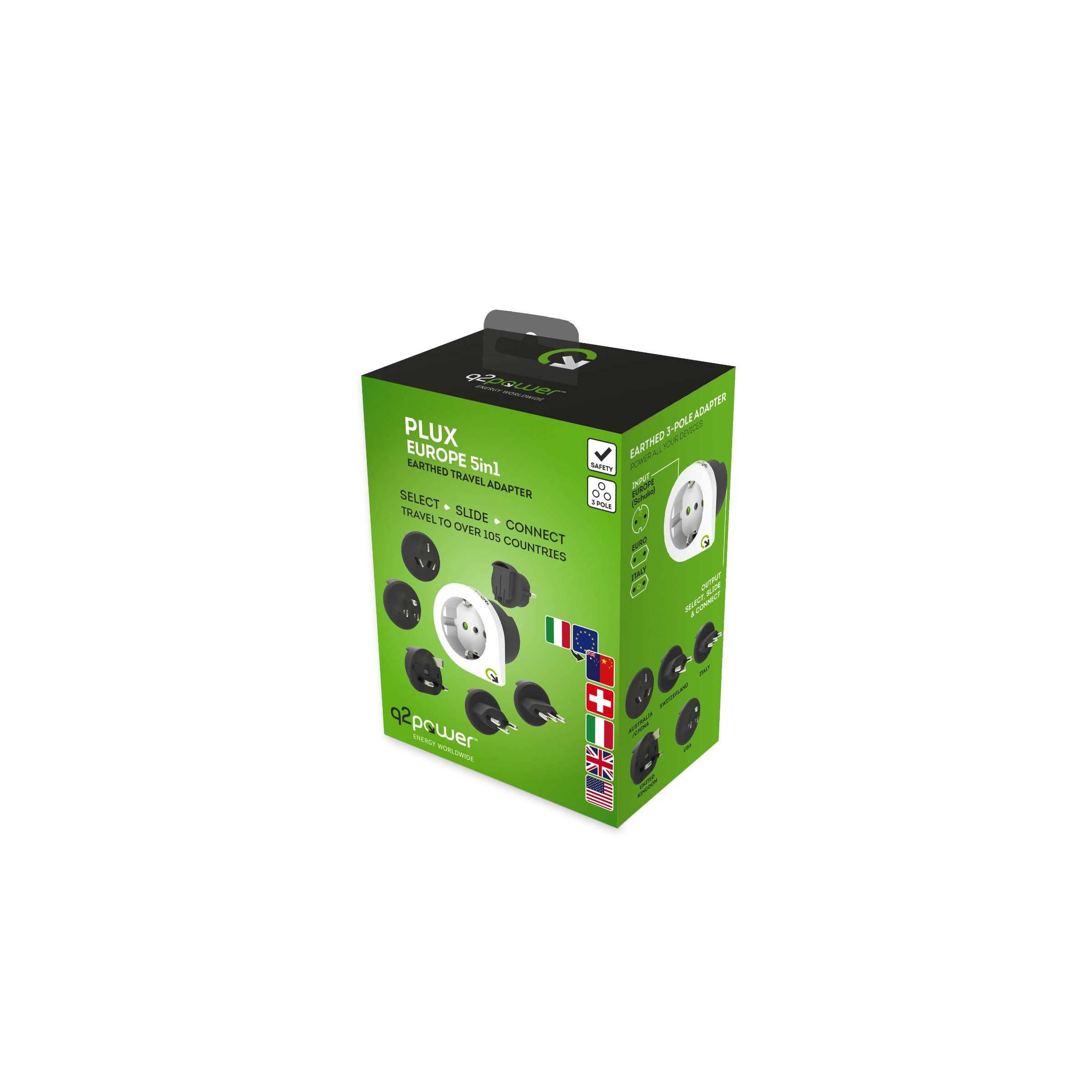 Q2power qplux 5 i 1 verden/eu til verden rejse adapter version europæisk stik fra q2power på mackabler.dk