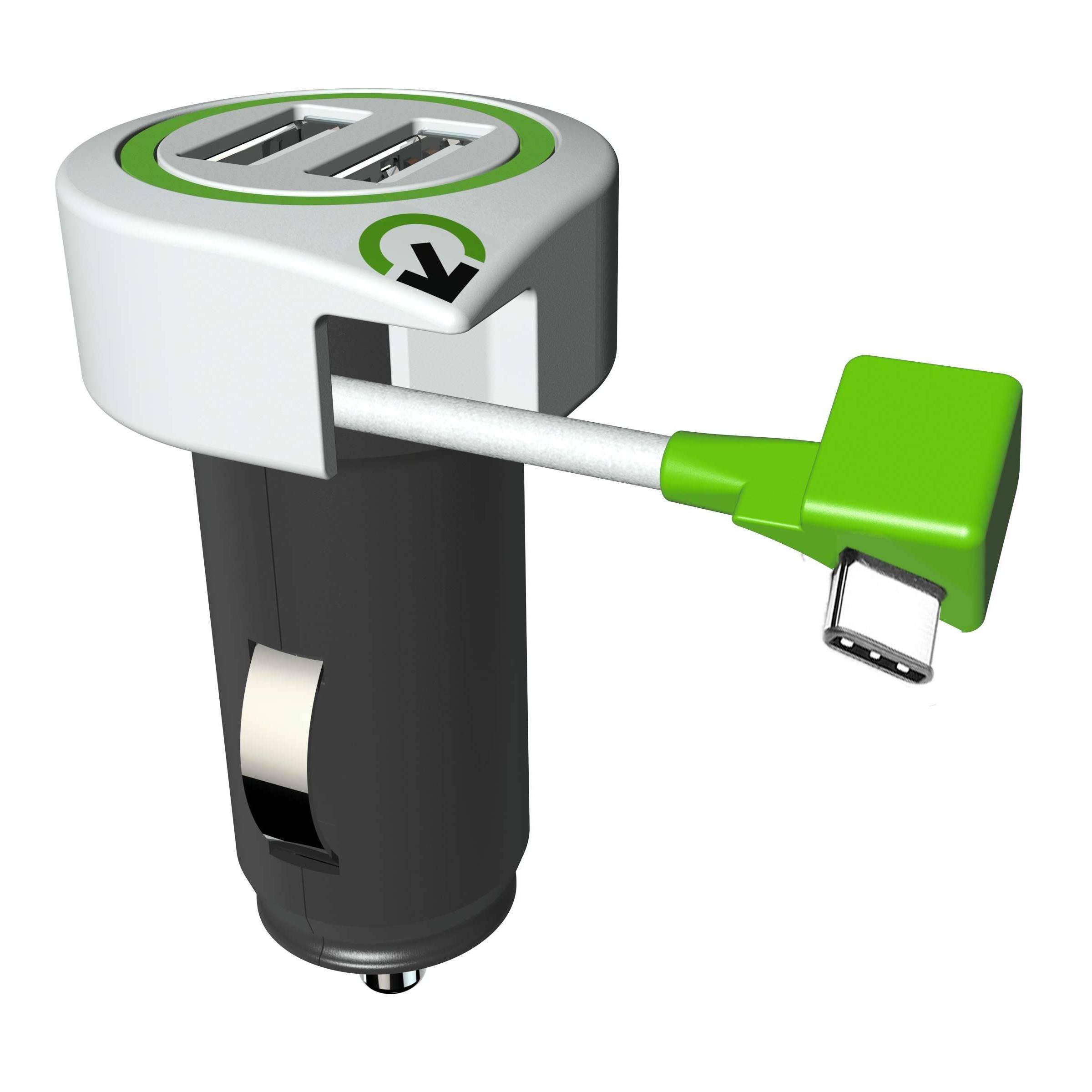 q2power – Q2power triple usb bil oplader med usb-c kabel på mackabler.dk