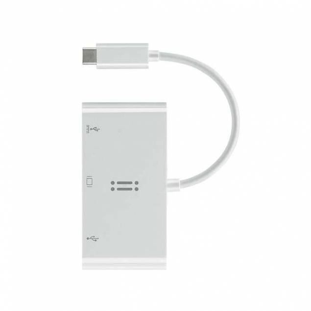 Aiino USB-c til VGA, USB 3.0 og USB-C hub i hvid