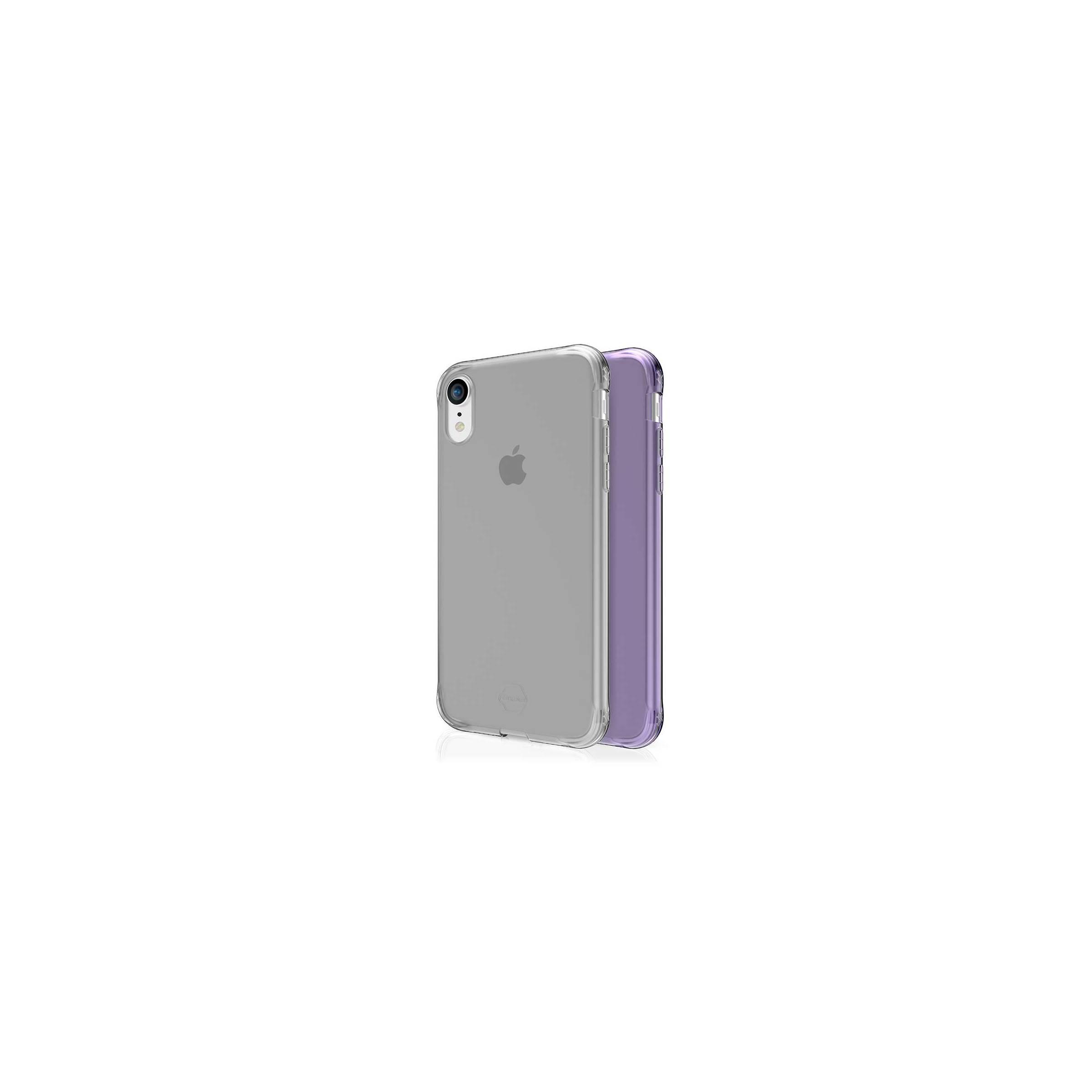 Itskins slim silikone protect gel iphone xr cover dobbelt 2x pakke farve klar & lyse lilla fra itskins på mackabler.dk