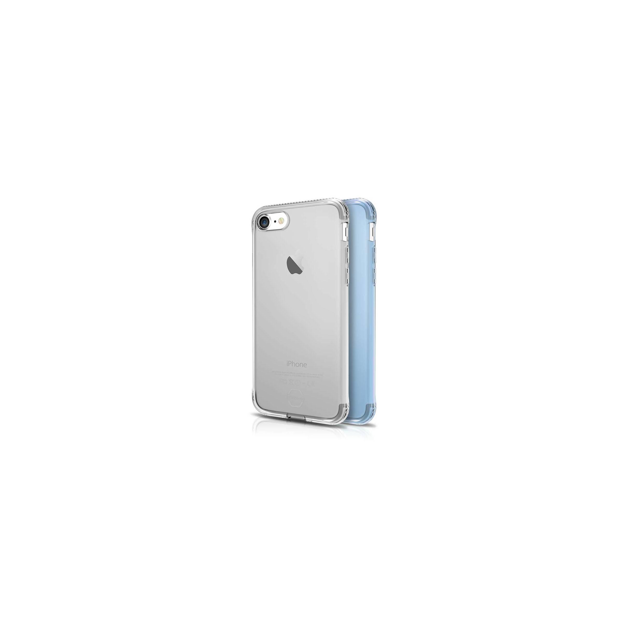 itskins Itskins slim silikone protect gel iphone 7 & 8 plus cover dobbelt 2x pakke farve klar & lyseblå fra mackabler.dk
