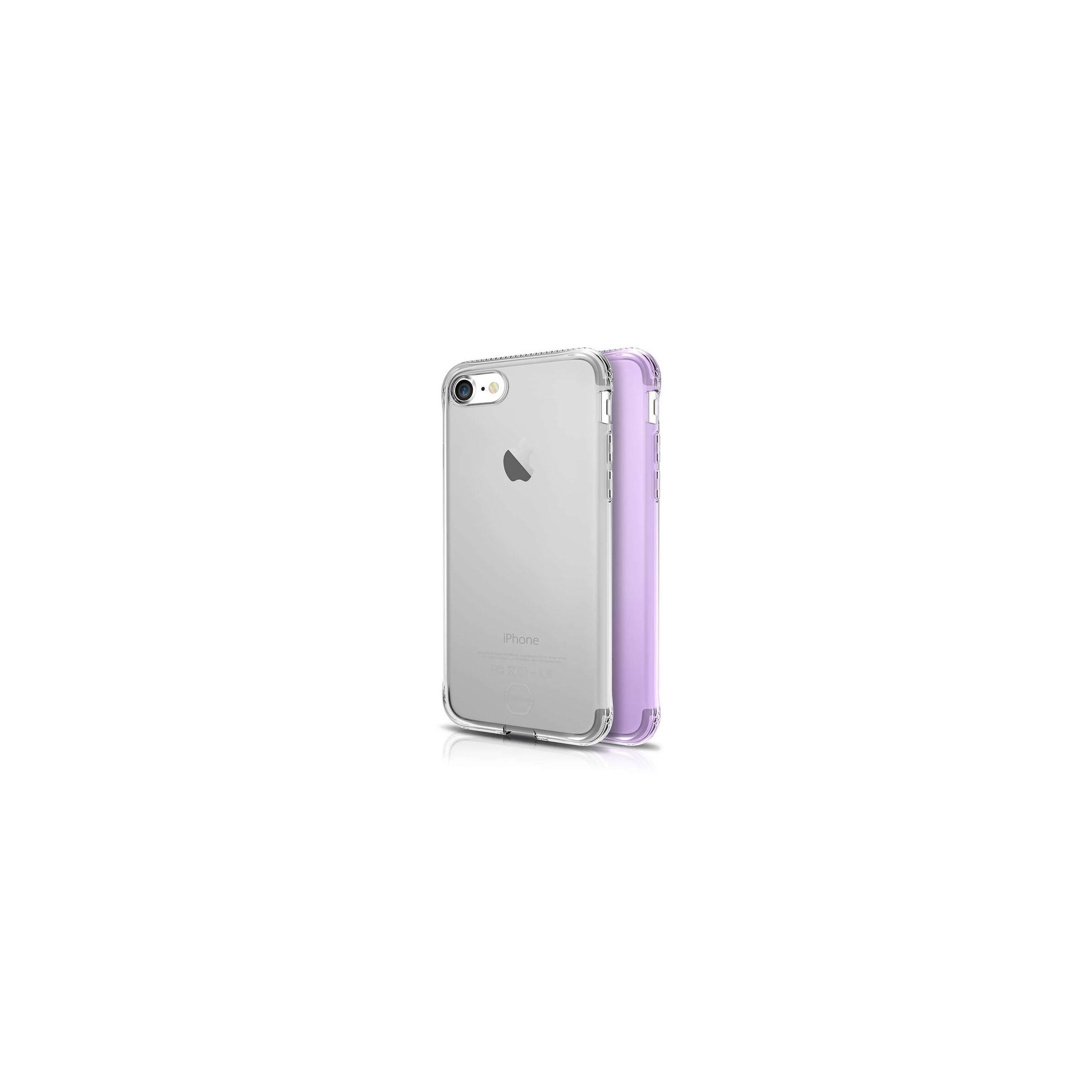 Itskins slim silikone protect gel iphone 7 & 8 cover dobbelt 2x pakke farve klar & lyse lilla fra itskins på mackabler.dk