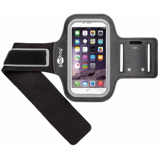 """Goobay Sports Løbearmbånd til iPhone op til 5"""" - Goobay Sports Løbearmbåndjusterbart sportsarmbånd til smartphones. Kan bruges til iPhone 4, 5, og 6, 7, 8 og X, Xs. Passer til alle 5"""" smartphones og og fordi iPhone X og iPhone Xs er ligeså stor som en 7/8 så virker den også til en 5,8"""" skærm hvis det e"""