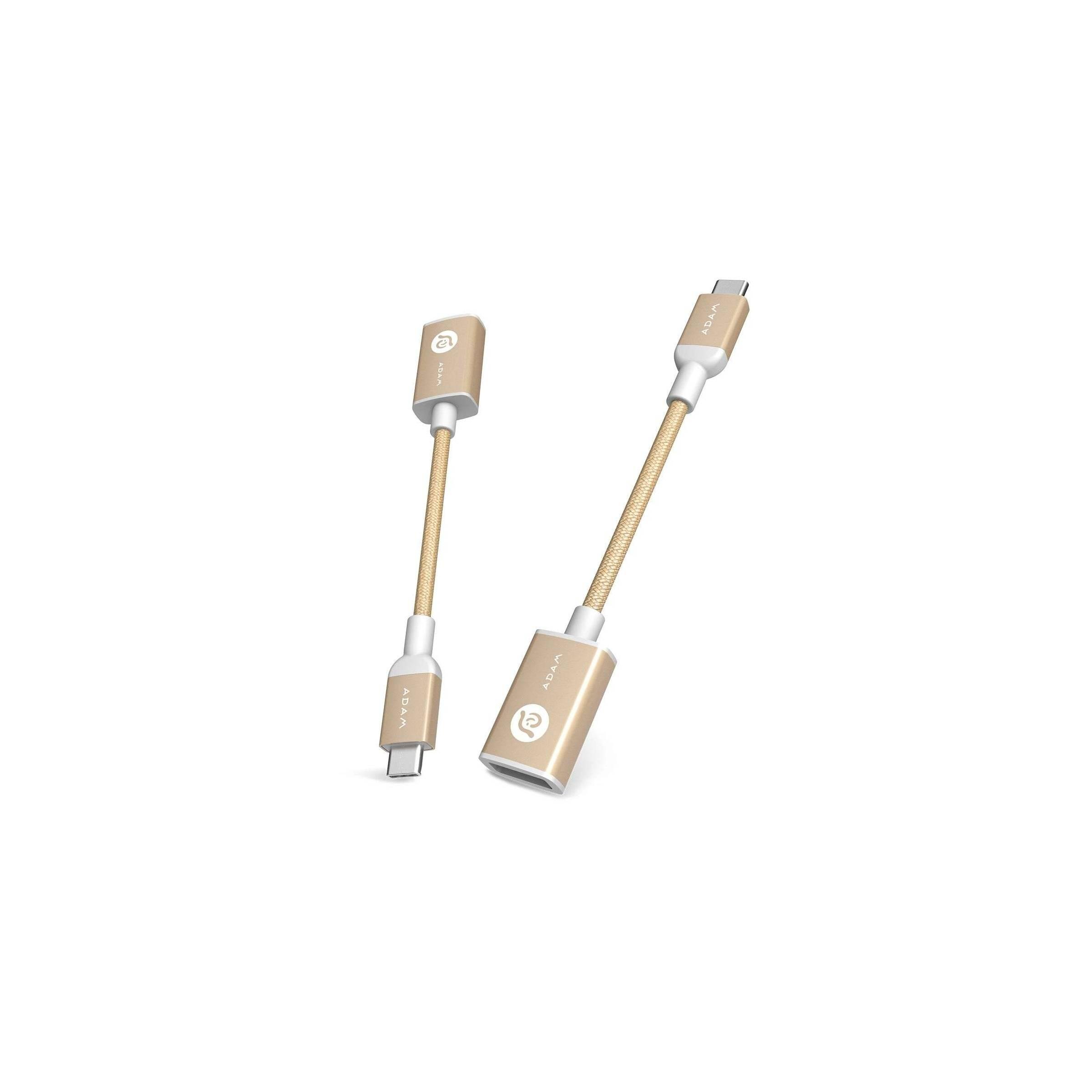 Adam elements casa f13 usb-c til usb-a adapter grå/rosegold/guld farve guld fra adam elements fra mackabler.dk