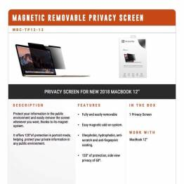 "Privacy filter glas til MacBook 12"" 2015 og frem fra XtremeMac"