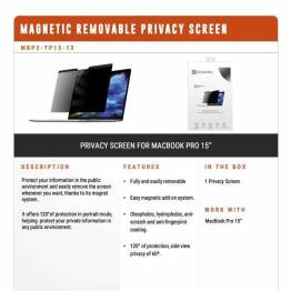 "Privacy filter glas til MacBook Pro 15"" 2016 og frem fra XtremeMac"