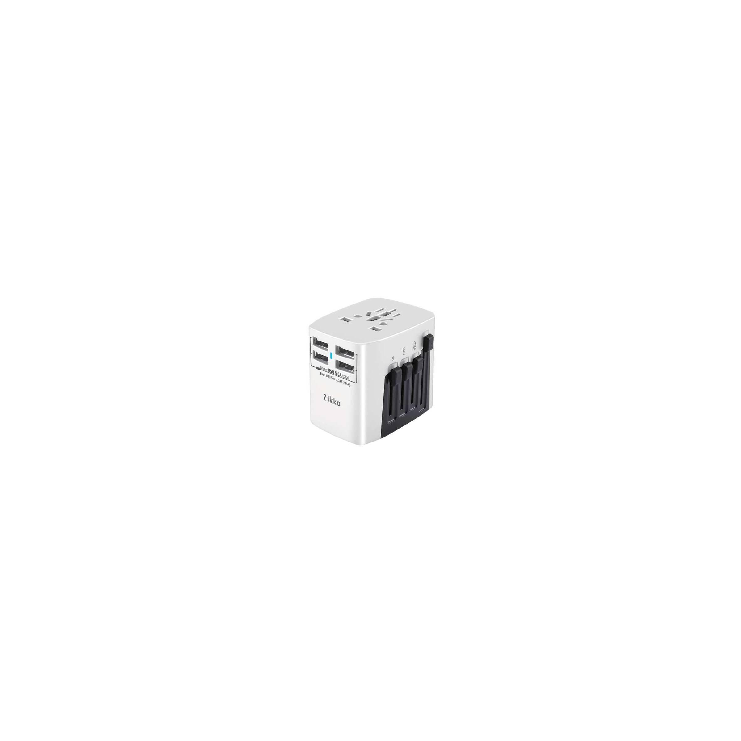 zikko – Zikko travel adapter 4 usb port i hvid på mackabler.dk