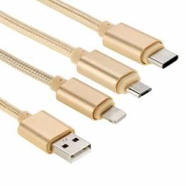 Multi oplader kabel Lightning, MicroUSB og USB-C MFi i Sort Ugreen
