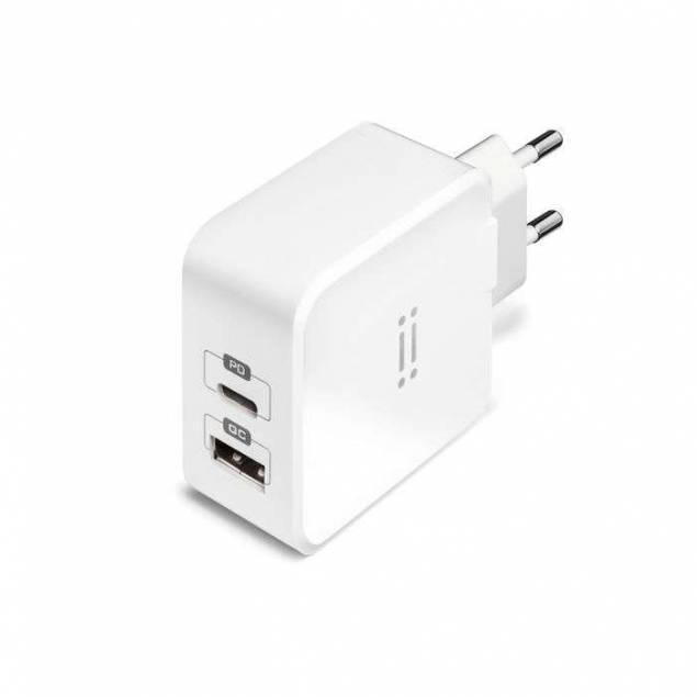 Aiino dobbelt vægoplader m. USB-C og USB 27W