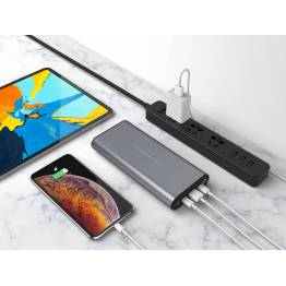 Image of   Hyperjuice dobbelt USB-C PD powerbank 27000mAh 130W Farve Space gray