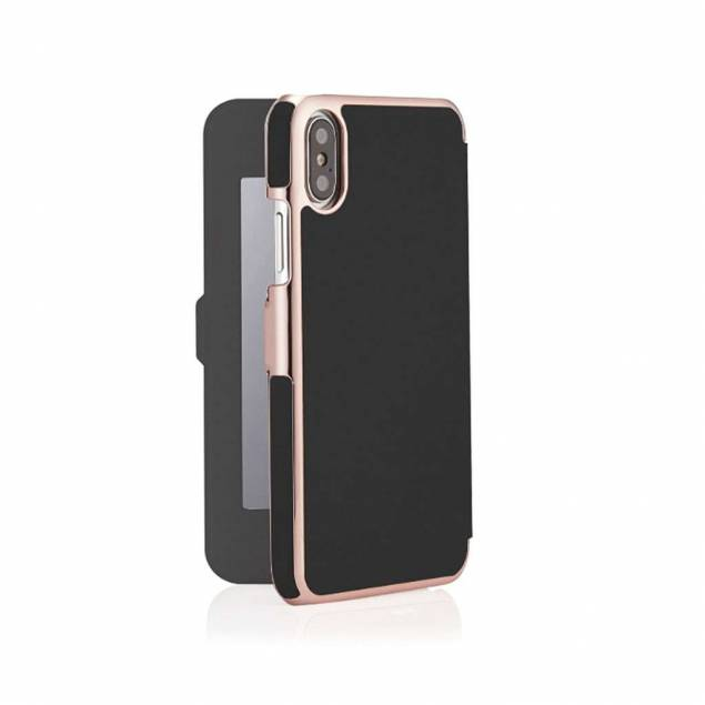 Pipetto Slim Wallet Mirror for iPhone XR - Black/Rose Gold