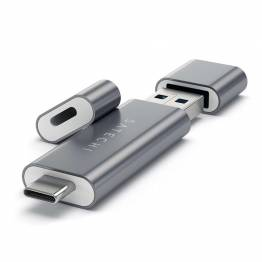 Satechi USB-C and USB3.0 Micro / SD kortlæser of aluminum