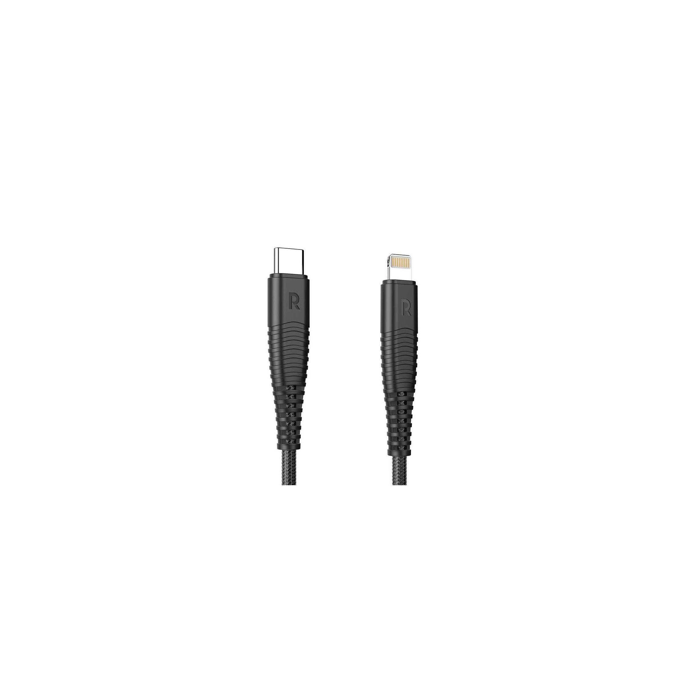 Ravpower kevlar usb-c til lightning kabel mfi 1m sort fra ravpower på mackabler.dk