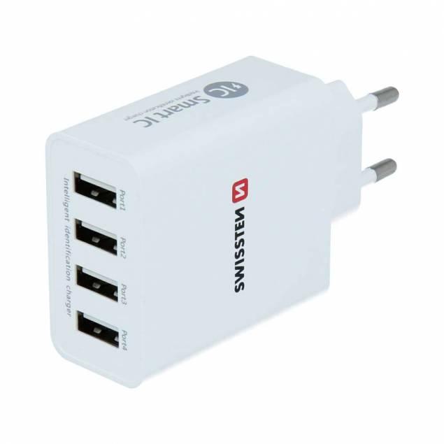 Swissten 4 USB oplader 25W - Swissten oplader med 4 USB-A smart IC porte. Samlet output på 5A som automatisk fordeles efter enhedernes behov. 4 USB smart porte 5A output CE certificeret Indpakning: 134mm x 97mm x 33mm