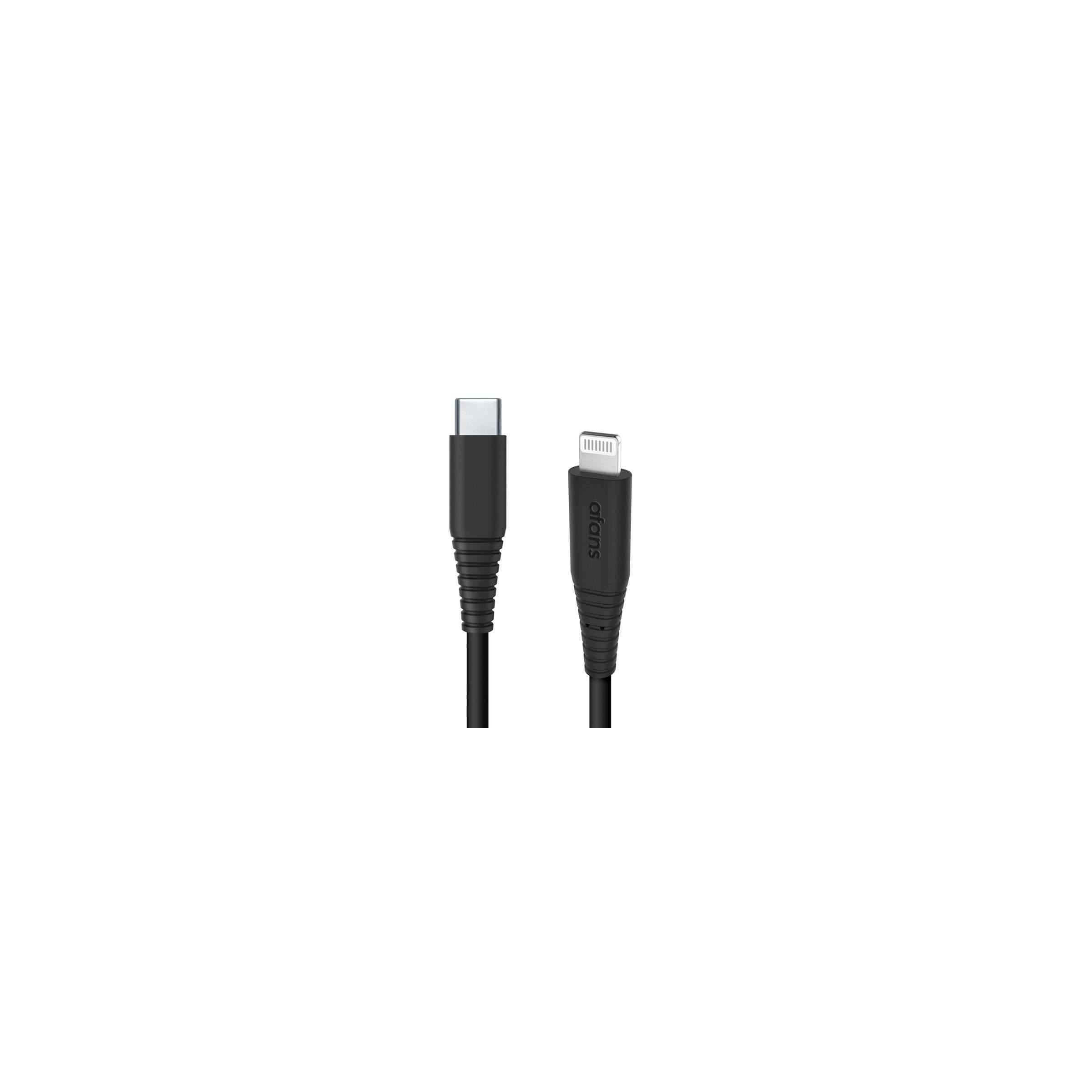 Zikko afans usb-c til lightning kabel mfi 1,5m sort fra zikko fra mackabler.dk