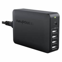 Image of   RAVPower 5-ports USB 60W oplader m. 45W USB PD