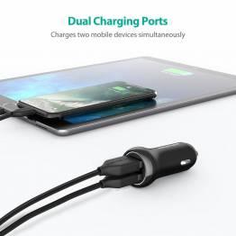 RAVPower 2x USB biloplader m. op til 17W opladning