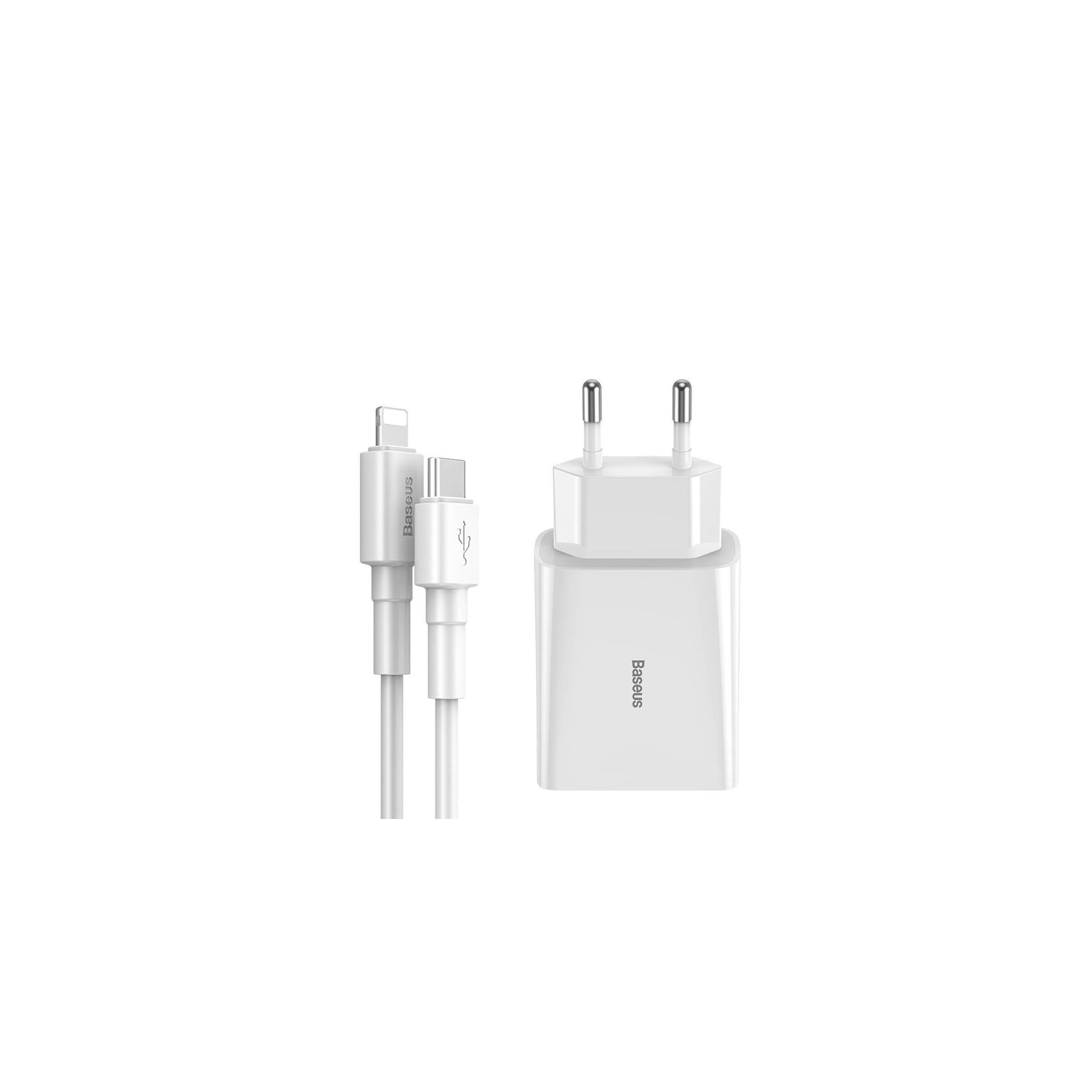 Baseus ipad/iphone 18w oplader med lightning kabel fra baseus fra mackabler.dk