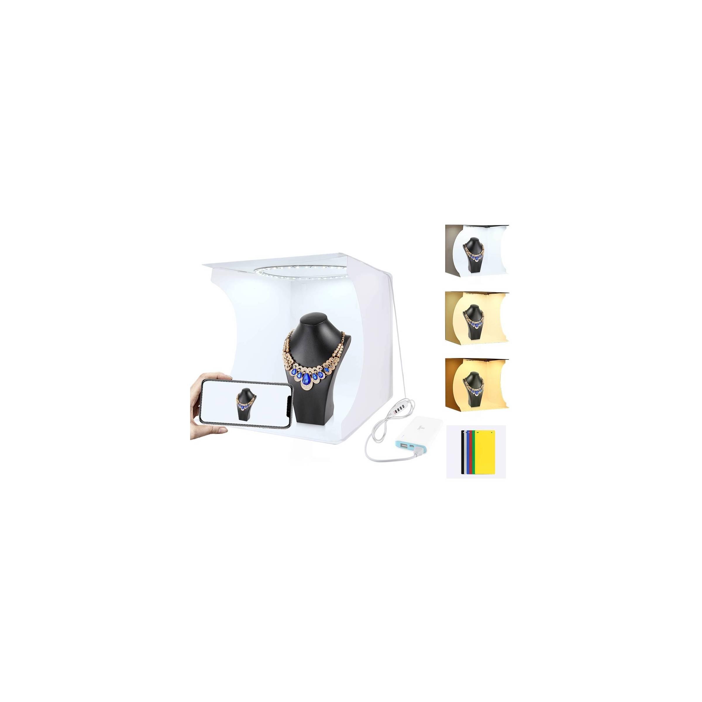 puluz Puluz foto boks med led ring og flere bagsider 30cm^3 fra mackabler.dk