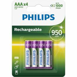 Philips Rechargeable opladelig AAA batterier 4stk