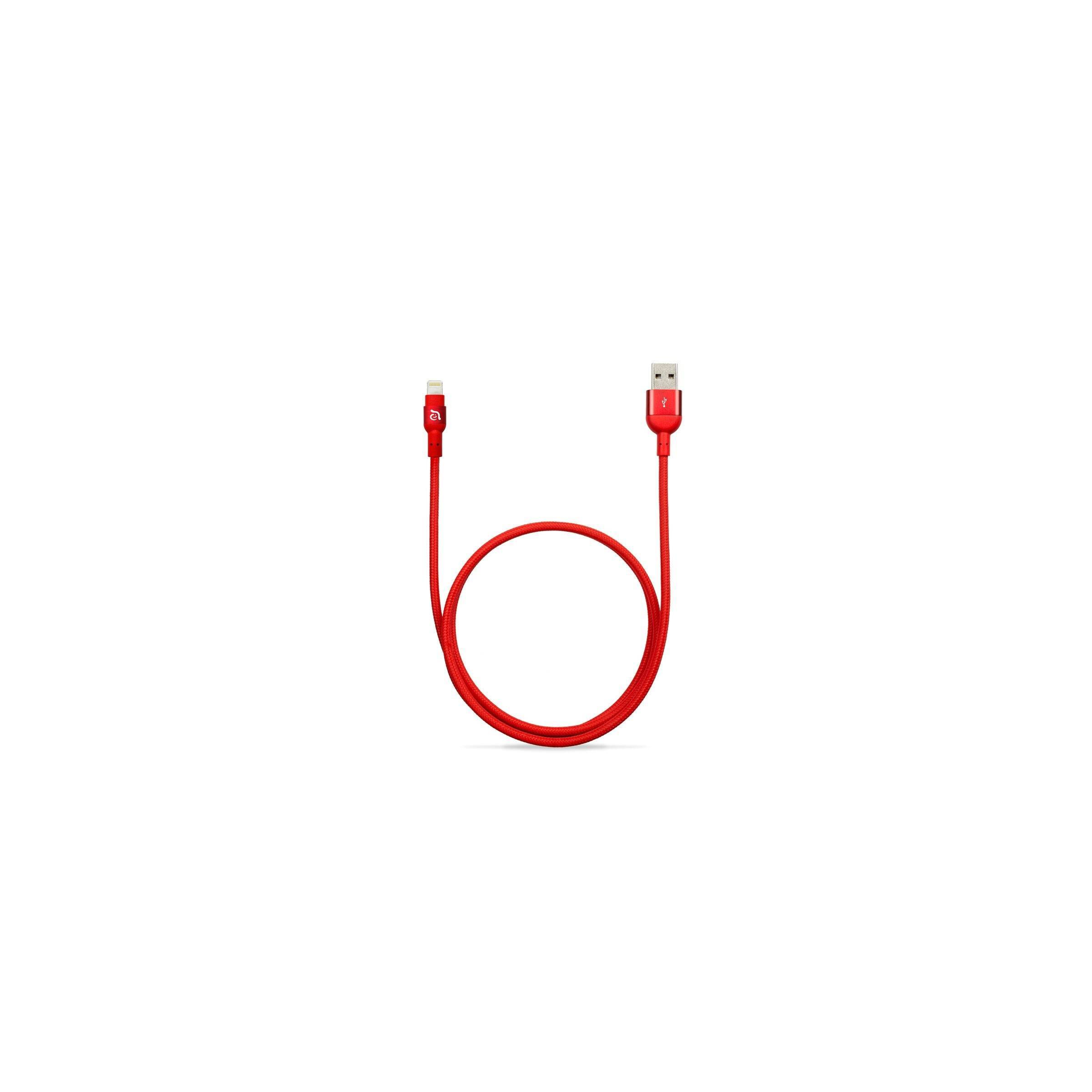 Adam elements peak nylon fiber lightning kabel farve rød, længde 3 meter fra adam elements fra mackabler.dk