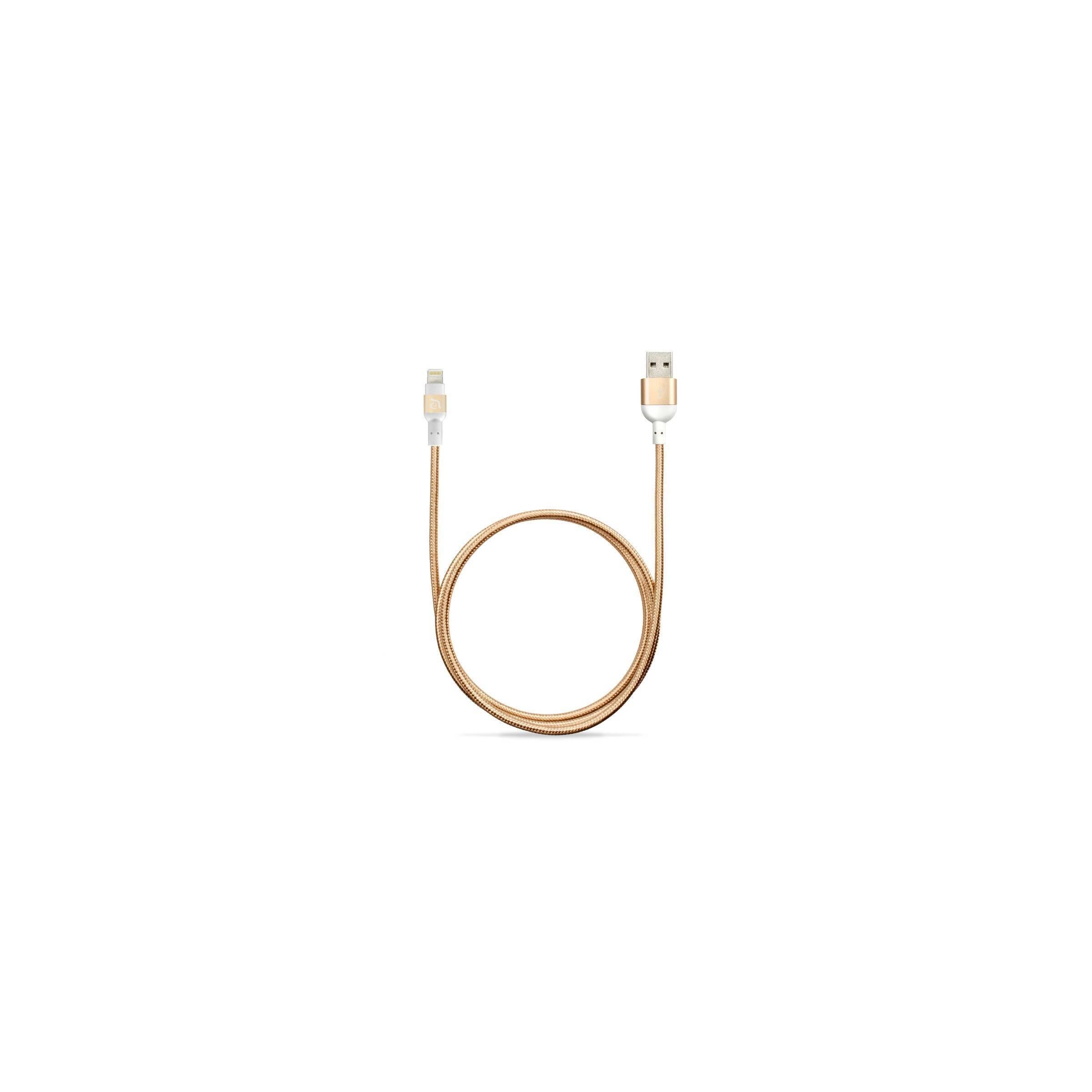 adam elements – Adam elements peak nylon fiber lightning kabel farve guld, længde 2 meter fra mackabler.dk
