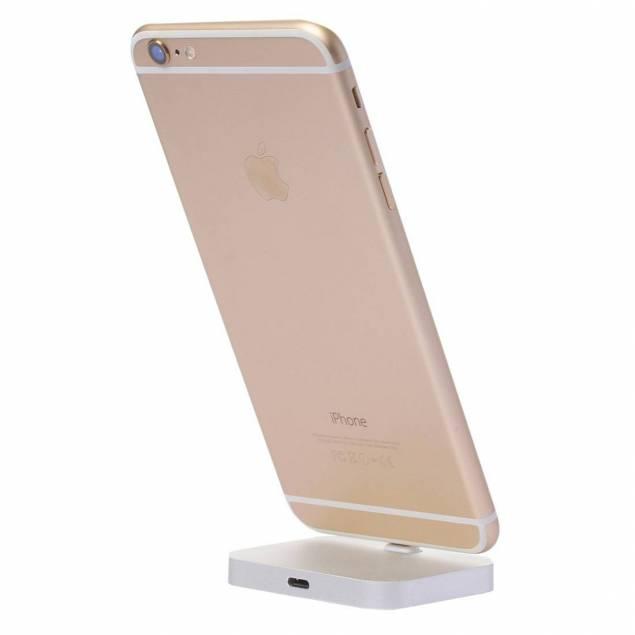 iPhone dock - iPhone alu Docken her har et enkelt stikbagved, det er et normalt Lightning 8pin stik, det betyder at du kan sætte den til en oplade og bruger alu docken til opladning, du kan sætte den til din Mac og bruge docken til synkronisering og opladning eller du