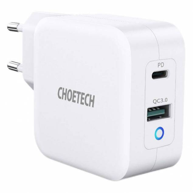 Choetech 65W GaN 2 port USB-C PD oplader